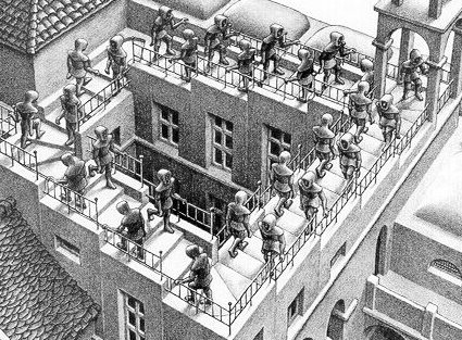 """STAIRS UP STAIRS DOWN"" escher"