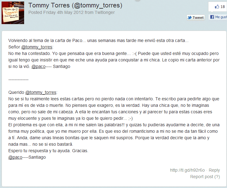 Tommy Torres contestación fan